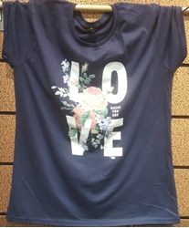 Picture of Love Where You Are T Shirt Navy Floral